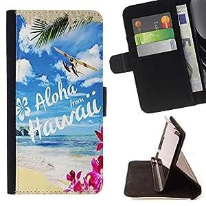 - Hawaii Palm Trees Beach - - Monedero pared Design Premium cuero del tir?n magn?tico delgado del caso de la cubierta pata de ca FOR Sony Xperia Z2 D6502 Funny House