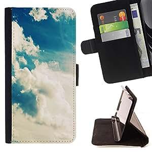 King Case - FOR Samsung Galaxy S4 Mini i9190 - Sun wear out the clouds - Prima caja de la PU billetera de cuero con ranuras para tarjetas, efectivo Compartimiento desmontable y correa para la mu?eca