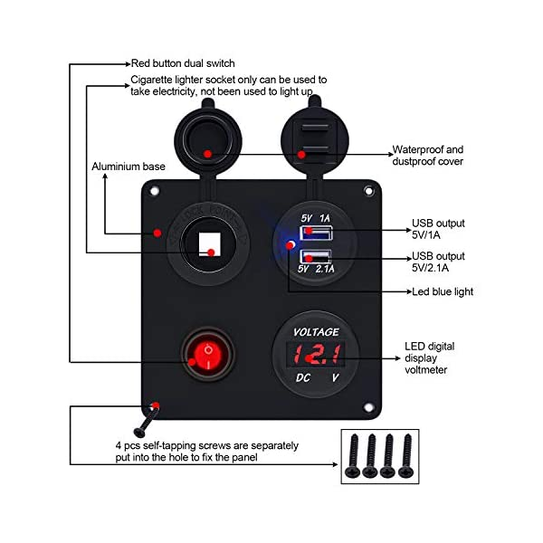 51drYnwKKUL TR Turn Raise Dual USB Ladegerät Aluminium Schalter Panel, LED Voltmeter, 12V Steckdose + ON/OFF Schalter 4 in 1 Panel…