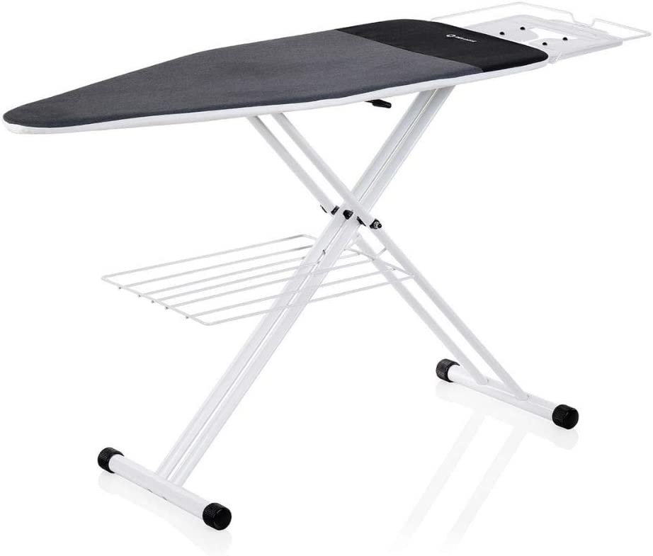 Reliable 220IB Home Ironing Board - Made In Italy Portable Ironing Board with Vera Foam Memory Foam Cover Pad and Conex Heat Resistant Zone, 7 Step Height Adjustment, Strong Iron Rest and Laundry Rack