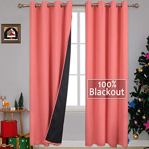 YGO 100% Blackout Curtains Thermal, Noise Reduction and Privacy Curtains for Patio Door, Black Lined Blackout Drapes with Grommet Top, Coral Color, 1 Pair, W52 x L84 - The Color Coral