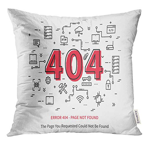 Golee Throw Pillow Cover Hosting Center Error 404 Page with Datacenter Server Broken Graphic Design Not Found Creative Data Site Decorative Pillow Case Home Decor Square 20x20 Inches Pillowcase
