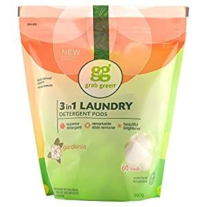 Gut Health Shop 51drZFX5MBL._SS300_ Grab Green Natural 3 in 1 Laundry Detergent Pods, Gardenia-With Essential Oils, 60 Loads, Organic Enzyme-Powered, Plant…