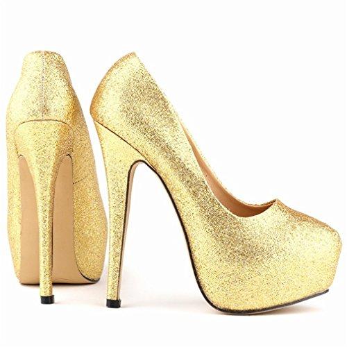Talons Xianshu Bling Profondes de Escarpins de la Peu de Paillettes Boîte forme Plate Or Nuit Hauts Bouche Chaussures Femmes zC11rqX