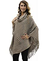 Luxury Divas Fine Knit Stripe Poncho With Fringe