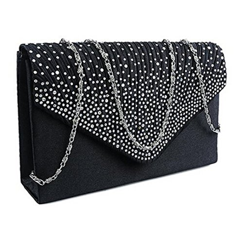 Ladies Black Bags Bolayu Prom Party Satin Clutch Shoulder Bag Sexy Evening Diamante Handbag Envelope 5wnCSOaqxw