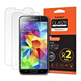 Galaxy S5 Screen Protector, Spigen® [Tempered Glass] [2 Pack] Samsung Galaxy s5 Glass Screen Protector [Easy-Install Wing] [Lifetime Warranty] -2 Pack