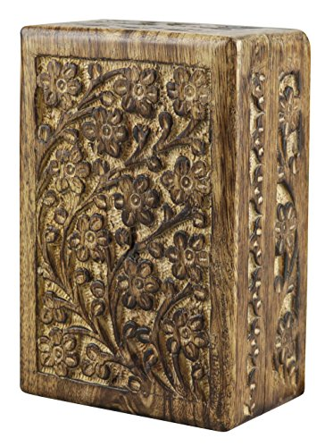 Large Floral Filigree - New Age Floral Carved Wood Stash Box - Assorted Sizes (Large - 10