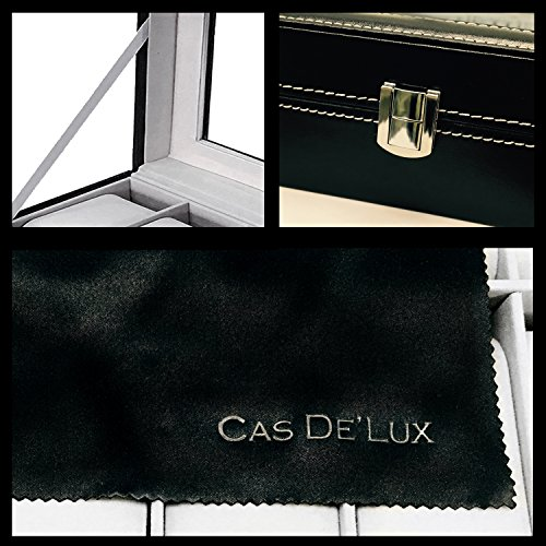 Luxury Watch Box 6 Velvet Pillow Slots, Premium Display Case With Framed Glass Lid, Elegant Contrast Stitching, Sturdy & Secure Lock - By Cas De` Lux