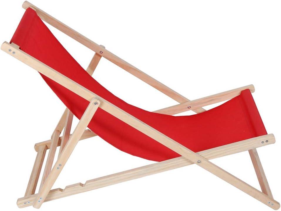Rosso Colore:Modello 01 Kingpower Sdraio in Legno Giardino Spiaggia Lettino Prendisole Pieghevole 120 kg 5 Colori 2 Modelli