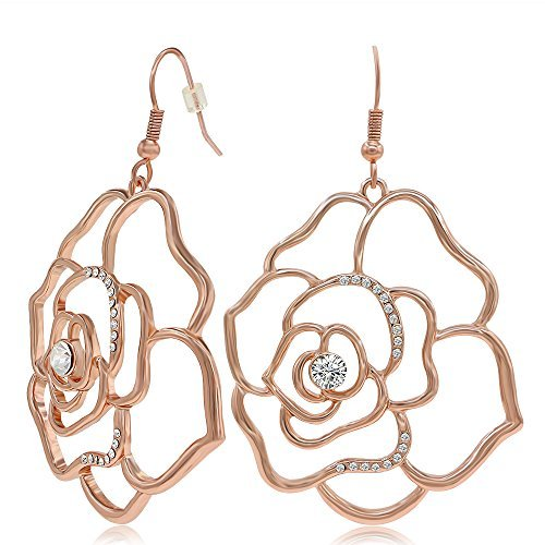 Kemstone Fashion Rhinestone Crystal Jewelry Rose Gold Plated Filigree Rose Dangle Earrings for Women by Kemstone