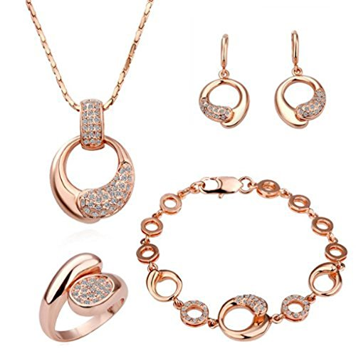 Women Alloy Base Rose Gold Palted Necklace, Earrings, Ring and Bracelet Wedding Jewelry Sets