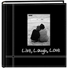 "Pioneer Photo Albums Embroidered Live, Laugh, Love Black Sewn Leatherette Frame Cover Album for 4""x6"" Prints"