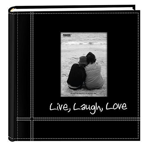 Pioneer Photo Albums Embroidered Live, Laugh, Love Black Sewn Leatherette Frame Cover Album for 4x6 Prints