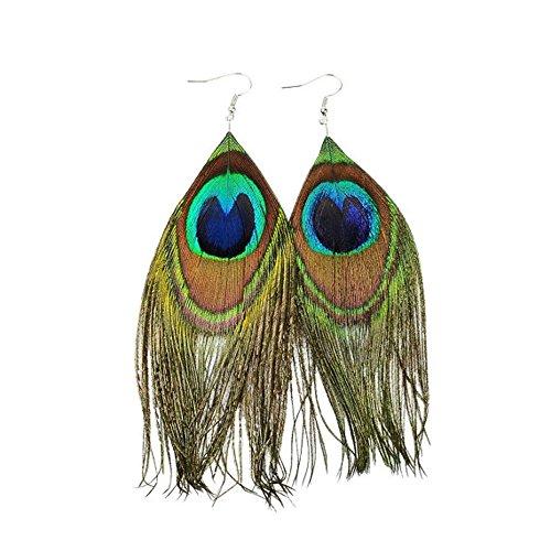 Mardi Gras Peacock (Beautywin Peacock Feather Earring Handmade Cocktail Earring Carnival Jewelry Women Dangle Halloween)