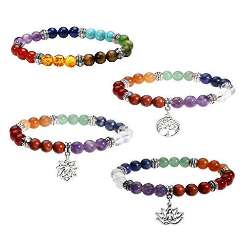 Reiki Energy Healing - Eigso 4Pcs Set 7 Chakra Womens Reiki Healing Meditation Crystal Stone Stretch Bracelet with Lotus/Yoga/Tree of Life Symbol Sign