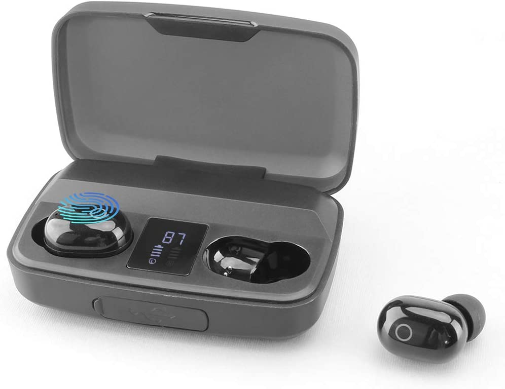 Ture Wireless Earbuds with Touch Control LED Display,Bluetooth 5.0 Earbuds 3800mAh Charging Case TWS Stereo in-Ear Bluetooth Headphones Built in Mic Deep Bass Waterproof Support Charge Mobile/Tablet