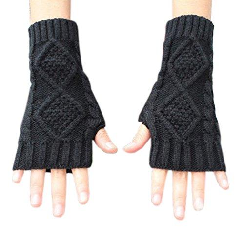 Acrylic Fingerless Gloves - Novawo Women's Hand Crochet Winter Warm Fingerless Arm Warmers Gloves