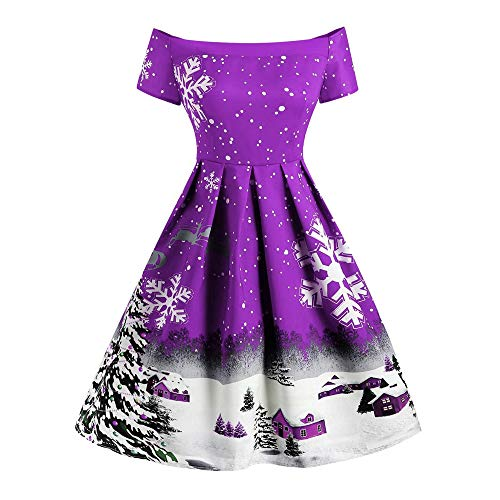 Sunhusing Ladies Sexy Off-Shoulder Short Sleeve Christmas Snowflake Print Vintage Pleated Dress A-Line Dress ()