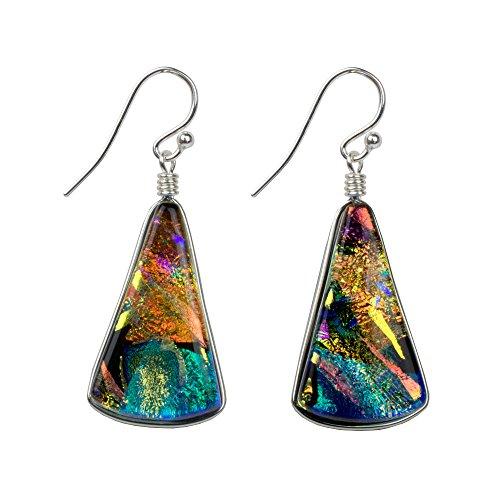 Window Waterfalls Earrings - Nickel Smart - Kaleidoscope Nickel Free Dichroic Glass Dangle Earrings for Women