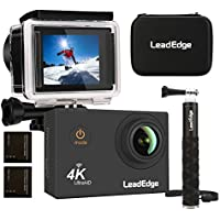 LeadEdge Sports Action Camera Waterpoof Cam 4K, WiFi,16MP, 4K/30FPS 1080P/60FPS 720P/120FPS,2.0 LCD,170° Wide Angle Lens, Include Monopod,Waterpoof Carrying Case,Two 1050mAh Battery