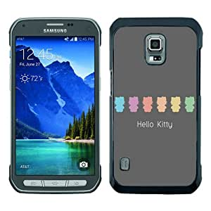 Beautiful And Unique Designed Case For Samsung Galaxy S5 Active With Flat Hello Kitty Pastel black Phone Case