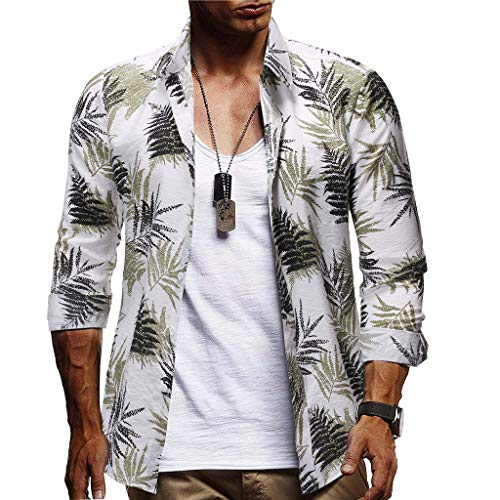 YOCheerful Men's Tops Casual Button Up Hawaiian Tops Print Beach Short Sleeve Quick Dry Top Loose Blouses(White, XL) ()