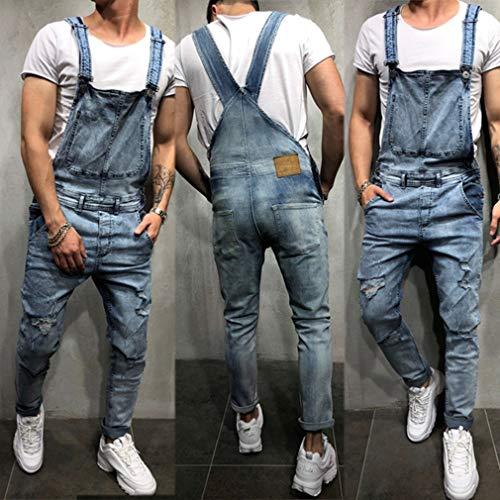 Destruido Monos Juleya Stonewash Pantalones Blu Para Hombres Clásico Babero De Trabajo Mezclilla Jeans Peto Ajuste Regular 6FU6qagW