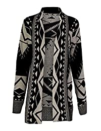 Forever Womens Aztec Tribal Leopard And Heart Print Knitted Boyfriend Cardigan