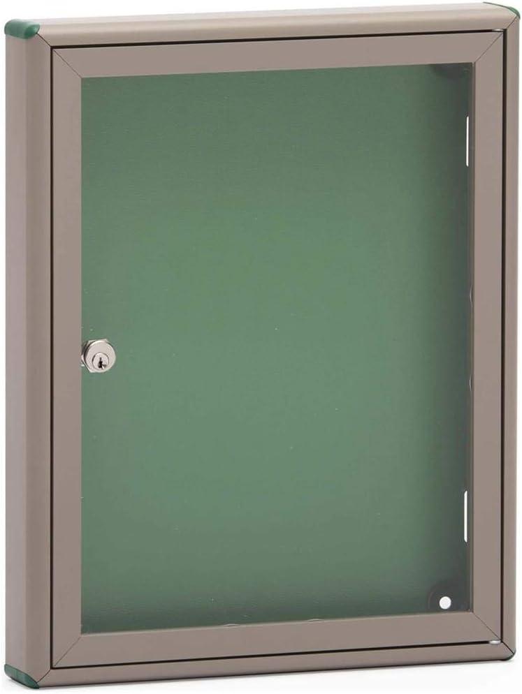 Silmec - Tablón de anuncios cerrado de aluminio con puerta batiente para interiores, 29 x 37 cm, para hojas A4