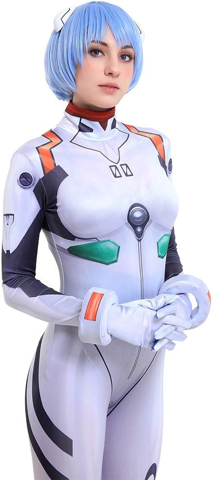 C-ZOFEK Womens Ayanami Cosplay White Bodysuit Costume