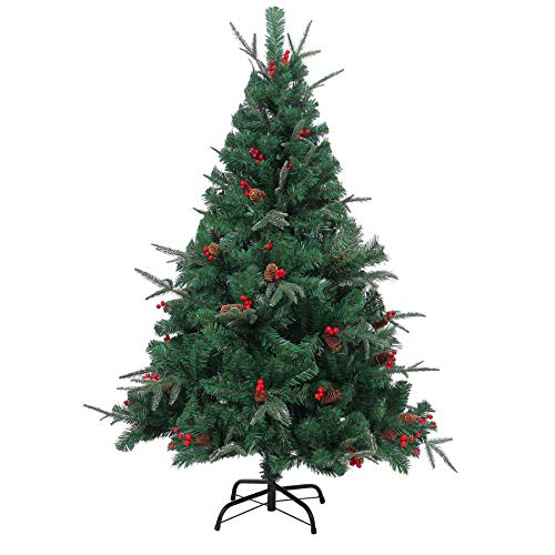 Shatchi 6068-CHRISTMAS-TREE-8FT 8ft Big Artificial Christmas Tree Naturally Pre Decorated with Pine Cones and Barries with Frozen Tips 240cm 2.4m, Green