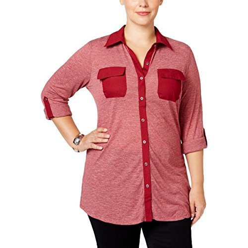 Style & Co.. Womens Plus Button-Front Tab-Sleeves Casual Top Red 2X (Co Button Front)