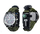 Outdoor sports watch watch lighter life rope compass thermometer,military green