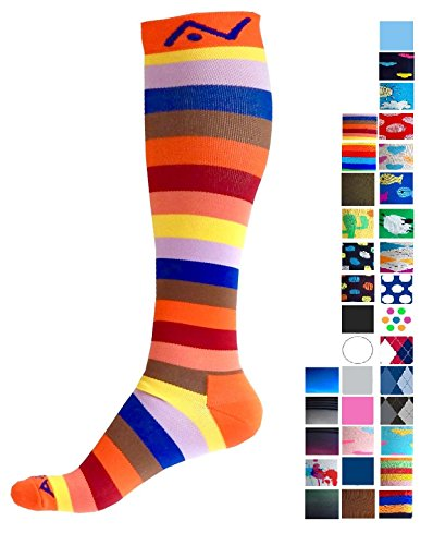 Compression Socks (1 pair) for Women & Men by A-Swift - Best For Running, Athletic Sports, Crossfit, Flight Travel - Suits Nurses, Maternity Pregnancy - Below Knee High (Orange Stripes, - Best Triathlete Female
