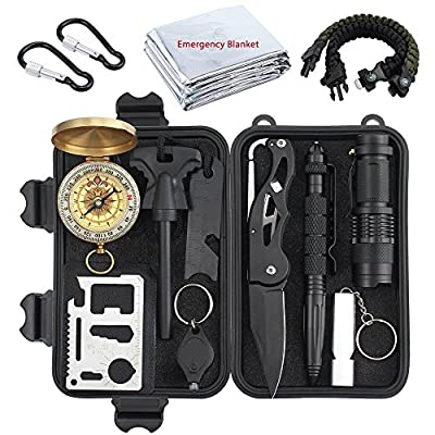 Proster Survival Gear 13 in 1 Emergency Survival Kit with Tactical Pen Survival Knife Tactical Flashlight Fire Starter Whistle Paracord Bracelets Survival Tools For Travelling Hiking by Proster Trading Limited
