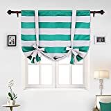 Deconovo Striped Blackout Curtains Wave Striped Curtains Set Light Blocking Curtains Tie up Drapes for Bedroom 46W X 63L Turquoise 1 Panel