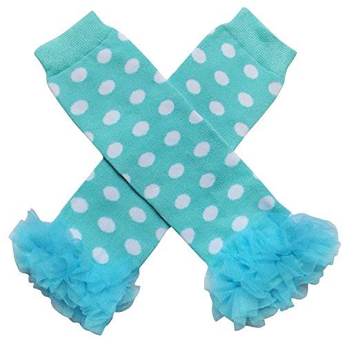 So Sydney Baby Toddler Girl Polka Dot Tutu Chiffon Ruffle Leg Warmers (White on Turquoise Blue)