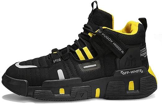 MH Zapatillas de Deporte para Hombre, Zapatillas para Correr Zapatillas de Tenis para Hombre Zapatillas de Deporte para Caminar Calzado Deportivo Transpirable Talla Informal 39-44,Blackyellow,44: Amazon.es: Hogar