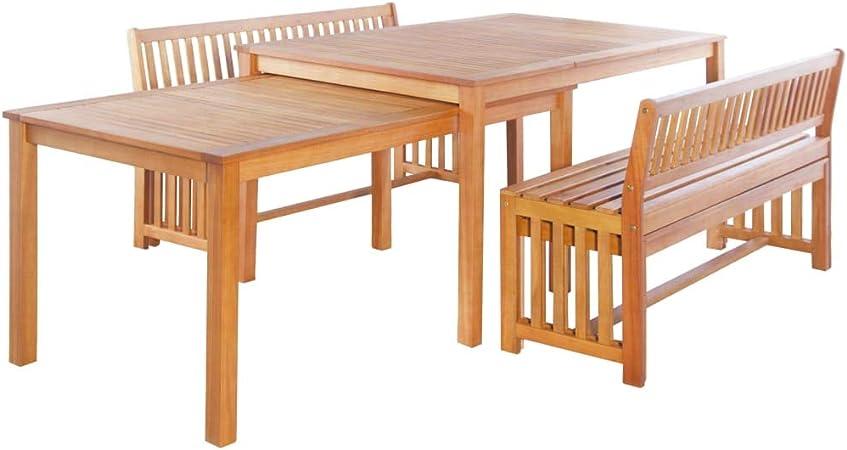 Festnight Mobilier De Jardin Exterieur 6 Pcs Table Et Banc En Bois