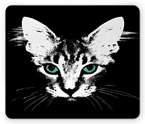 Lunarable Cat Mouse Pad, Digital Murky Kitten Portrait on Dark Background Mystic Animal Charm Creature Image, Standard Size Rectangle Non-Slip Rubber Mousepad, Silver Black -