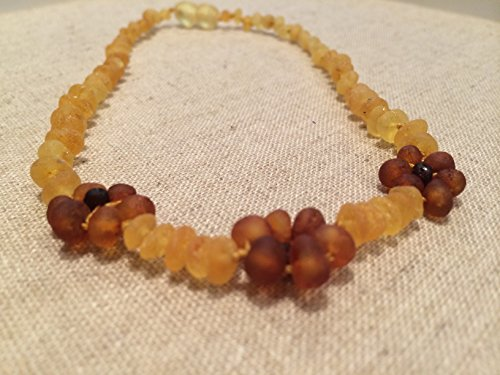 10 Inch Raw Lemon Flower Baltic Amber Teething Necklace for