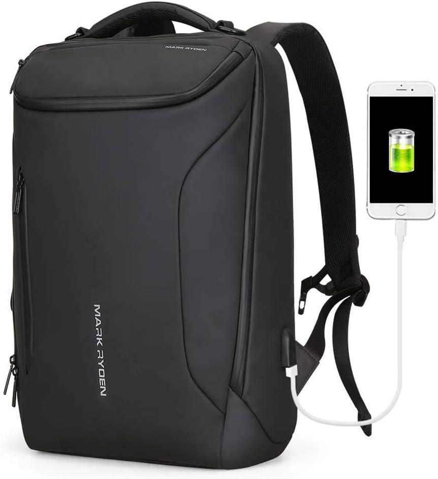 Anti-Theft Travel Backpack,Water-Resistant 15.6 Inch Laptop Backpack,Men Business Bags with USB Charging Port Bookbag School Bag MR01_Black
