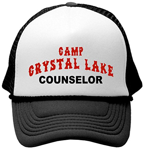 CRYSTAL LAKE COUNSELOR - funny 80s horror movie Mesh Trucker Cap Hat, Black (80s Clothing For Men)