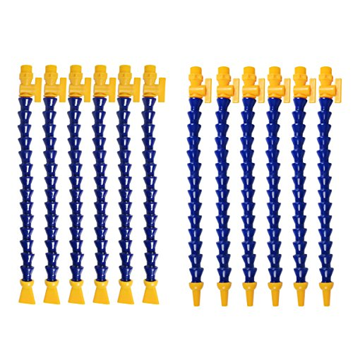 YXQ 12Pcs 1/2PT Flexible Water Oil Coolant Pipe Hose+Switch 16.2-inch (6 Round+6 Flat) Nozzles Adjustable Body Plastic