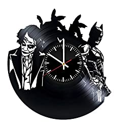 Welcome Everyday Arts Batman Joker Design Vinyl Record Wall Clock - Get unique bedroom or living room wall decor - Gift ideas for girls and women – DC Comics Unique Modern Art