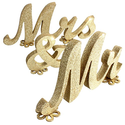 SUPVOX Mr and mrs Signs Wedding Sweetheart Table Decorations DIY Decor for Wedding Decoration Table (Gold)