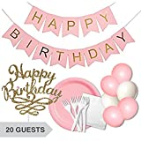 """INCLUDES: (1) Pink & Gold (Foil) Happy Birthday Banner 4 ft. (20) Pink Paper Plates 9"""" (20) White Paper Napkins 13"""" (24) White Plastic Forks (4) Pink Balloons 12"""" (2) White Balloons 12"""" (1) Gold Glitter Cake Topper 6""""x5""""BANNER: Durable an..."""