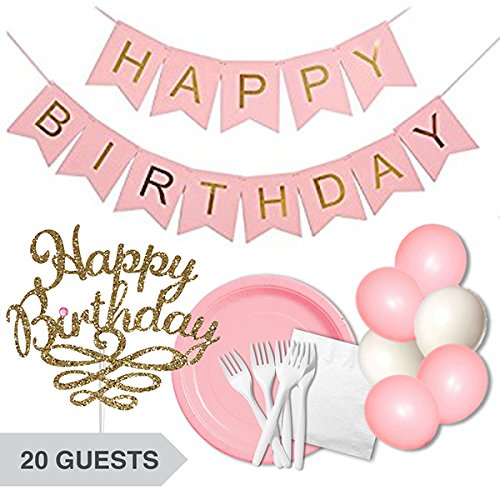 Pink-Happy-Birthday-Decorations-Tableware-Bundle-Set-Banner-Cake-Topper-Plates-Forks-Napkins-Balloons-Girls-Princess-Gold-White-Party-Decor