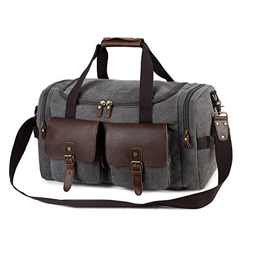 "Kopack Travel Duffel Bag Mens W Waterproof Shoes Bag Canvas Crazy Horse Leather Weekender 22""x14""x10"""